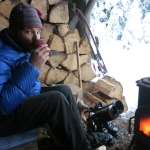 snow and woodsmoke